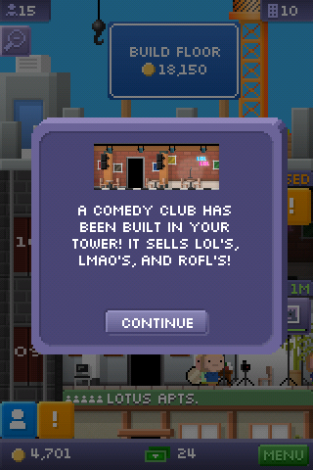 Tiny Tower screenshot of comedy club