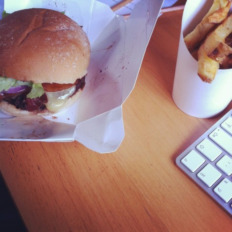 Mmmm, desk delivered Byron Burgers....