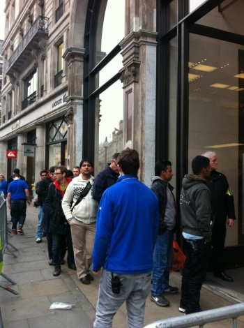 It's a big party by the apple store...