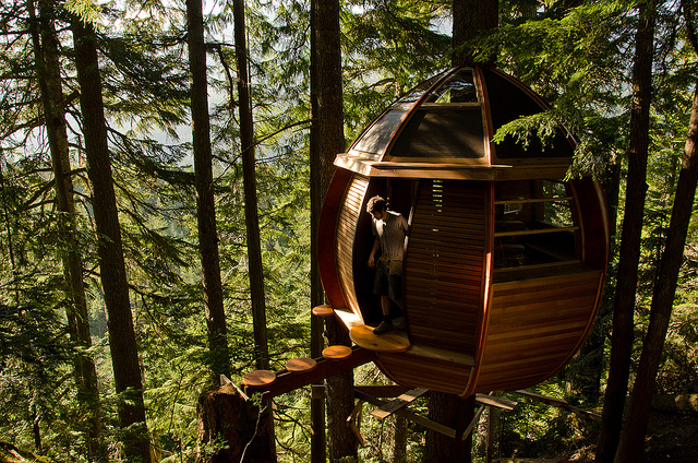 Photo of the HemLoft, tree house in Whistler, BC, Canada