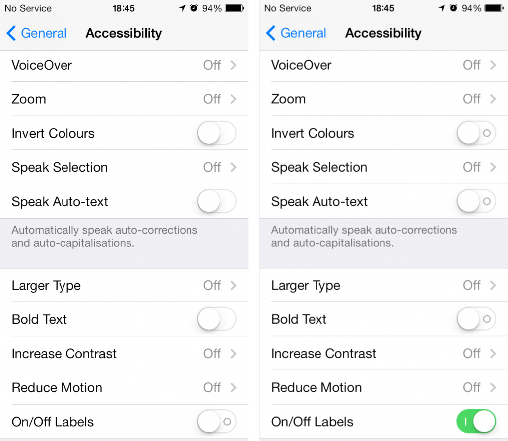 Ones and Zeroes for iOS 7 toggle switches